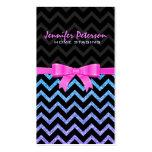 Colorful Glitter Black Zigzag Chevron Pattern 2 Business Cards