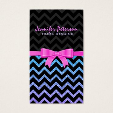 Professional Business Colorful Glitter Black Zigzag Chevron Pattern 2 Business Card