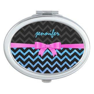 Colorful Glitter Black Zigzag Chevron Pattern Makeup Mirrors