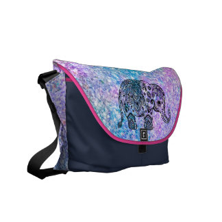 Colorful Glitter Cute Blue Elephant Courier Bag