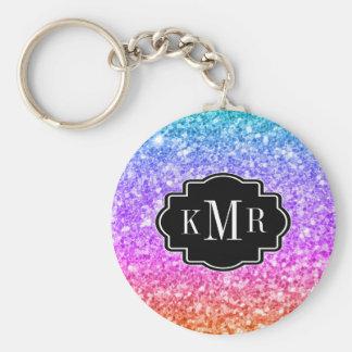Colorful Glitter Gradient Black Accent & Monogram Keychain