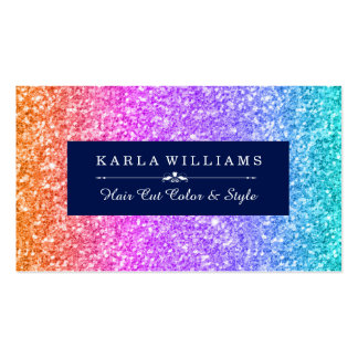Colorful Glitter Gradient & Midnight-Blue Accents Business Card