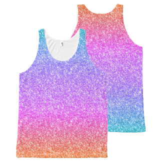 Colorful Glitter Gradient Texture All-Over-Print Tank Top