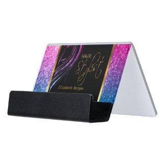 Colorful Glitter Hair Stylist Model Girl Desk Business Card Holder