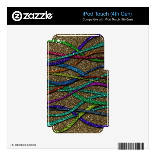 Colorful Glitter Lines iPod Touch 4G Skin
