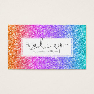 Colorful Glitter Makeup Typography Design Business Card