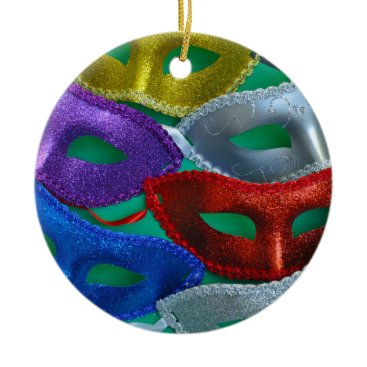 Halloween Themed Colorful glitter masks ceramic ornament