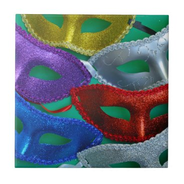 Halloween Themed Colorful glitter masks ceramic tile