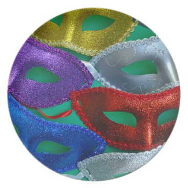 Halloween Themed Colorful glitter masks dinner plate