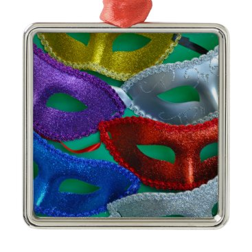Halloween Themed Colorful glitter masks metal ornament
