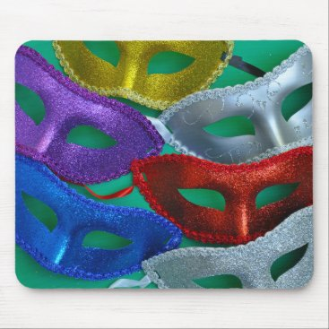 Halloween Themed Colorful glitter masks mouse pad