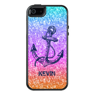 Colorful Glitter & Midnight Blue Boat Anchor OtterBox iPhone 5/5s/SE Case
