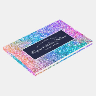 Colorful Glitter Pattern & Dark Blue Guest Book