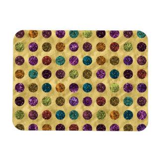 Colorful Glitter Polka Dots Gold Magnet