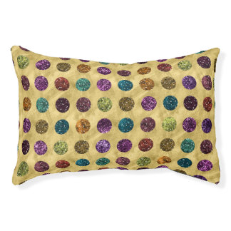 Colorful Glitter Polka Dots Gold Pet Bed