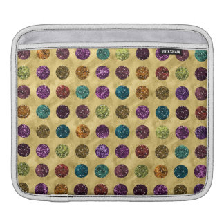 Colorful Glitter Polka Dots Gold Sleeve For iPads