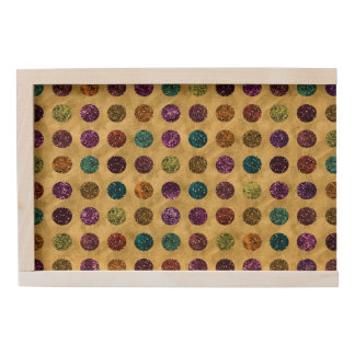 Colorful Glitter Polka Dots Gold Wooden Keepsake Box