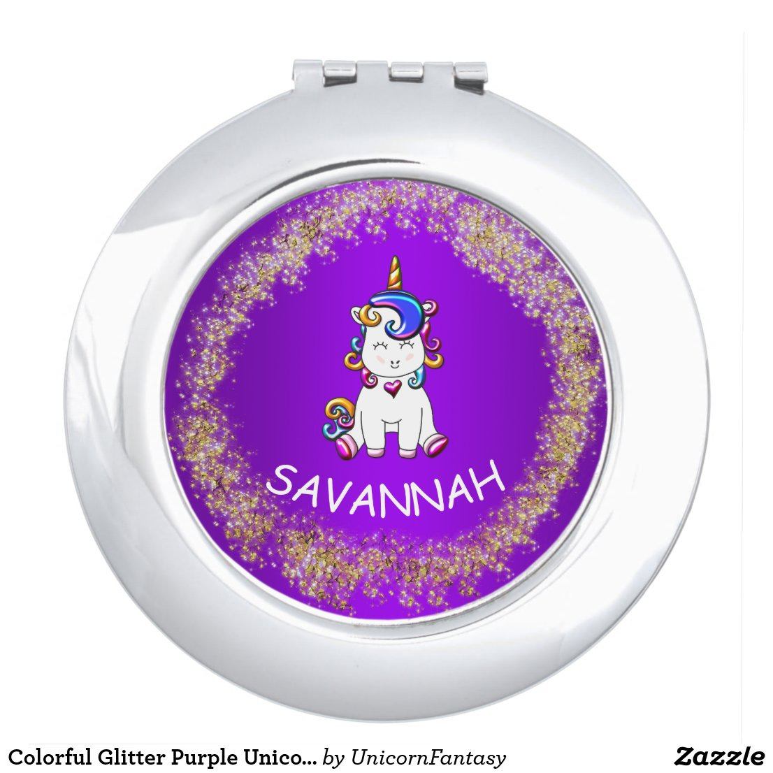 Colorful Glitter Purple Unicorn Compact Mirror