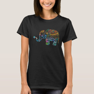 Colorful Glitter Retro Flowers Elephant T-Shirt