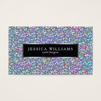 Colorful Glitter & Sparkles Print Silver Accents Business Card