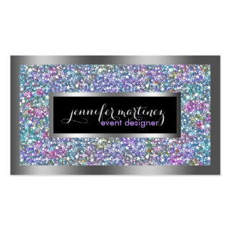 Colorful Glitter & Sparkles Silver Accents Business Card