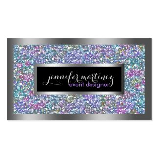 Colorful Glitter & Sparkles Silver Accents Double-Sided Standard Business Cards (Pack Of 100)