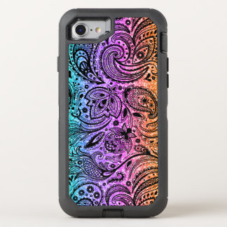 Colorful Glitter Texture & Black Paisley Lace OtterBox Defender iPhone 8/7 Case
