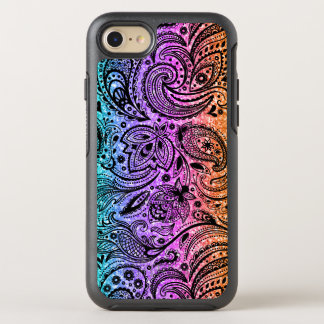 Colorful Glitter Texture & Black Paisley Lace OtterBox Symmetry iPhone 8/7 Case