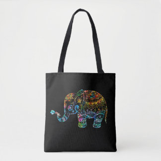 Colorful Glitter Texture Floral Elephant Tote Bag