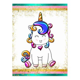 Colorful Glitter Unicorn Birthday Postcard