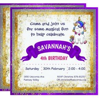 Colorful Glitter Unicorn Purple Invitation