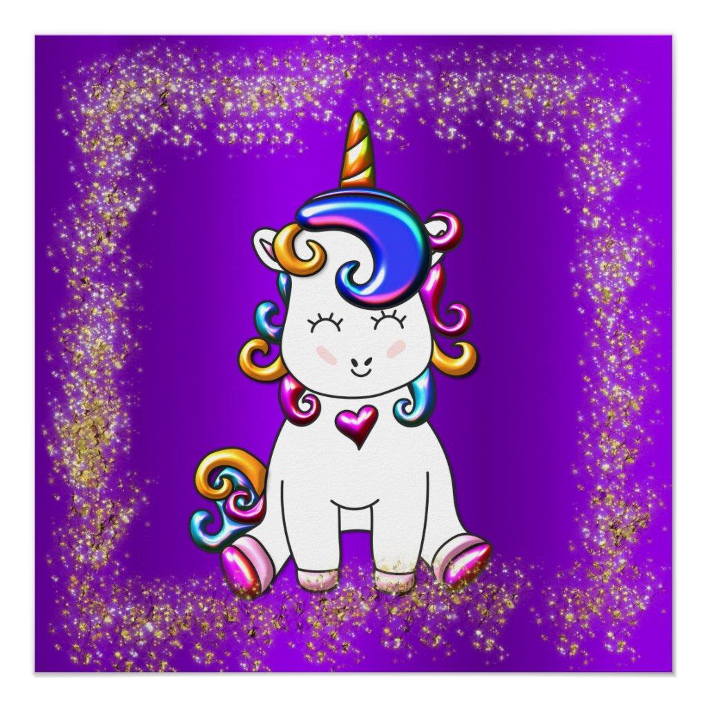 Colorful Glitter Unicorn Purple Poster