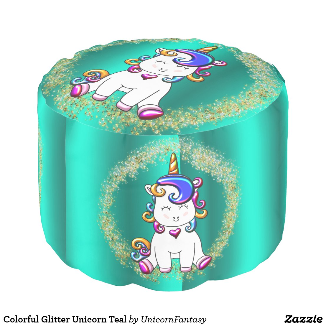 Colorful Glitter Unicorn Teal Pouf