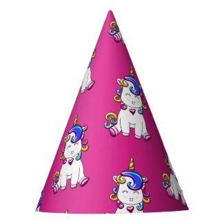 Colorful Glitter Unicorns Birthday Blue Party Hat