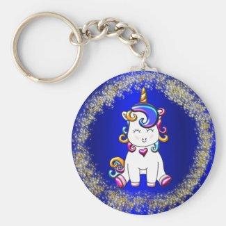 Colorful Glitter Unicorns Blue Keychain