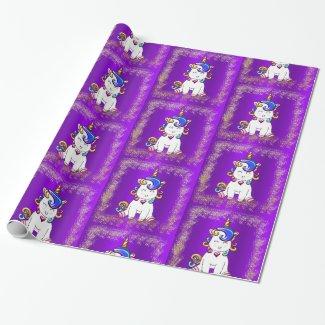 Colorful Glitter Unicorns Purple Wrapping Paper
