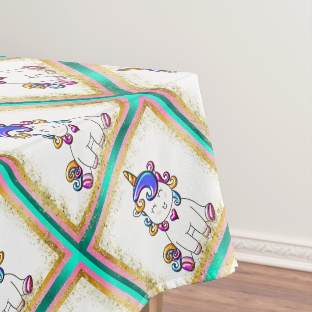 Colorful Glitter Unicorns Teal Tablecloth