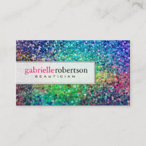 Colorful Glitter White Background Business Card