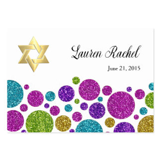Colorful Glittery Dots on Any Color Favor Tag Large Business Card