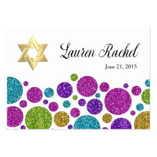 Colorful Glittery Dots on Any Color Place Card Large Business Card