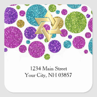 Colorful Glittery Dots on Any Color Return Address Square Sticker