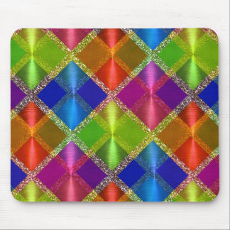 Colorful Glittery Plaid Pattern Mouse Pad