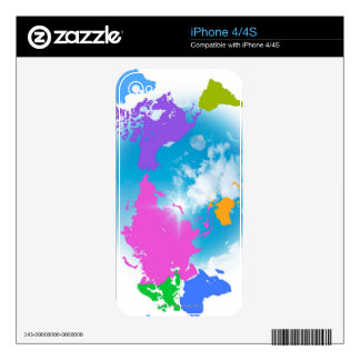 Colorful Global Map iPhone 4 Skins