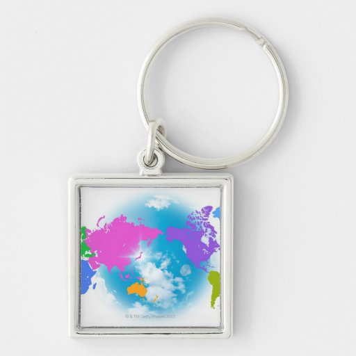 Colorful Global Map Key Chains