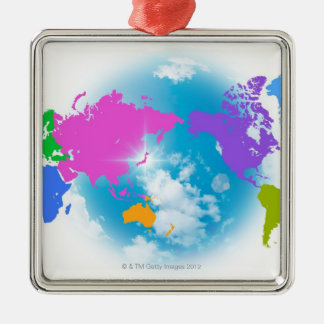 Colorful Global Map Metal Ornament