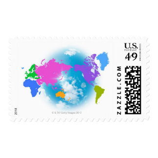 Colorful Global Map Stamp