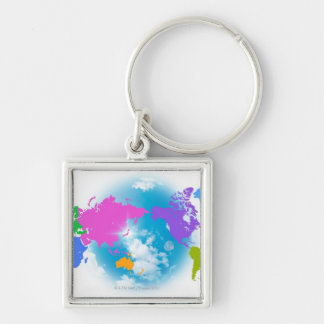 Colorful Global Map Silver-Colored Square Keychain