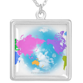 Colorful Global Map Square Pendant Necklace