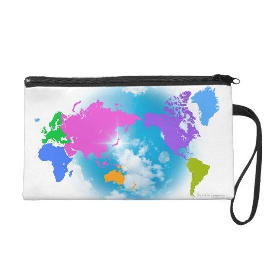 Colorful Global Map Wristlet Purse