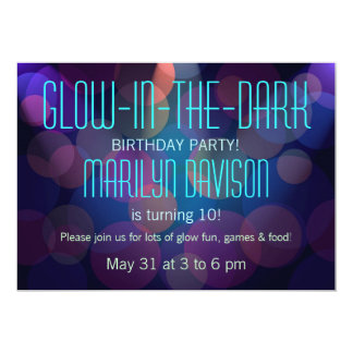 Colorful Glow in the Dark Party Invitations